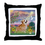 Cloud Angel Welsh Corgi Throw Pillow