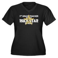 1st Grade Teacher Rock Star Women's Plus Size V-Ne