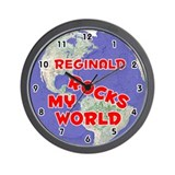 Reginald Rocks My World (Red) Wall Clock