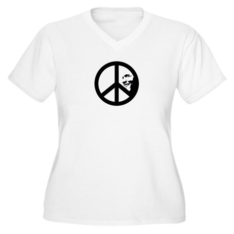 Obama for Peace Women's Plus Size V-Neck T-Shirt