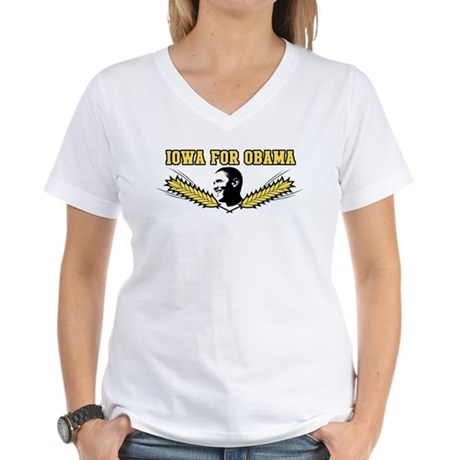 Iowa for Obama Women's V-Neck T-Shirt