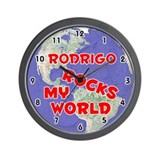 Rodrigo Rocks My World (Red) Wall Clock