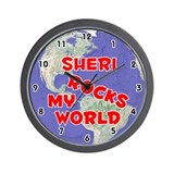 Sheri Rocks My World (Red) Wall Clock