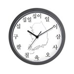 Korean Number Map Wall Clock (black)