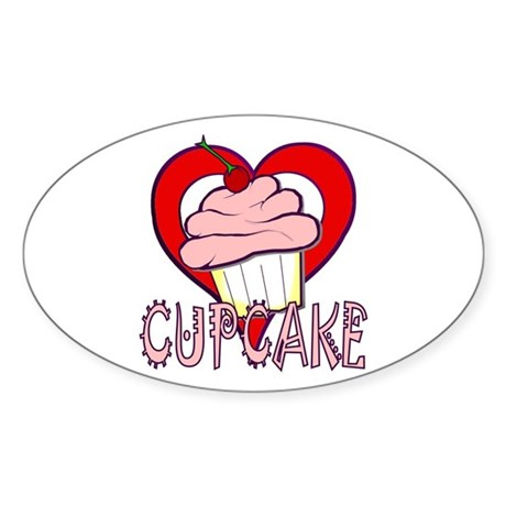 Valentine Cherry Cupcake Oval Sticker