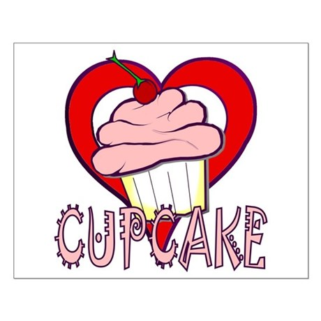 Valentine Cherry Cupcake Small Poster