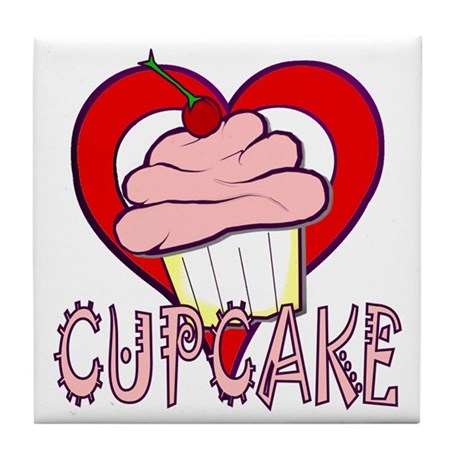 Valentine Cherry Cupcake Tile Coaster