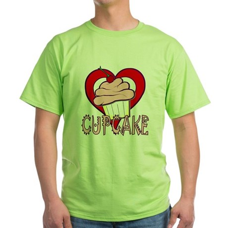 Valentine Cherry Cupcake Green T-Shirt