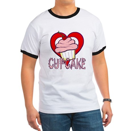 Valentine Cherry Cupcake Ringer T