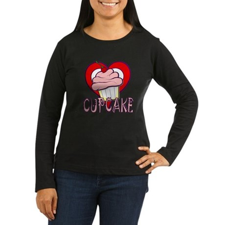 Valentine Cherry Cupcake Women's Long Sleeve Dark