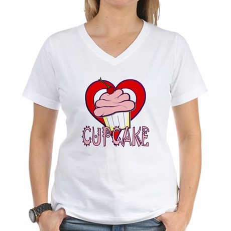 Valentine Cherry Cupcake Women's V-Neck T-Shirt