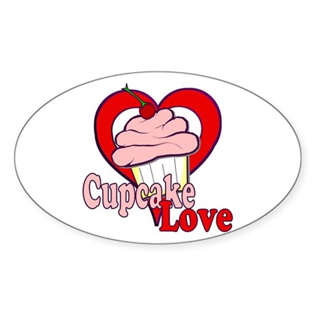 Cupcake Love Oval Sticker