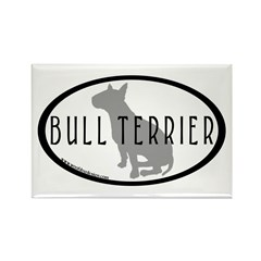 Bull Terrier Oval w/Text Rectangle Magnet