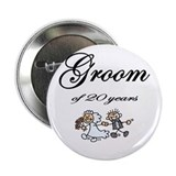 "20th Wedding Anniversary Groom 2.25"" Button (10 pa"
