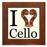 I Love Cello Framed Tile