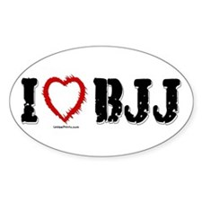 I (HEART) BJJ Oval Decal