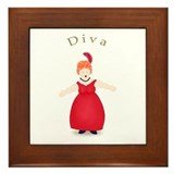 Redhead Diva in Red Dress Framed Tile
