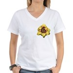 Peach Double Daylily Women's V-Neck T-Shirt