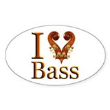 I Love Bass Oval Decal