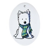 Winter Scarf Westie Oval Ornament