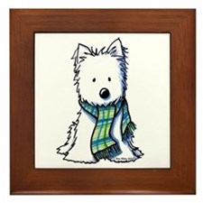 Plaid Scarf Westie Framed Tile