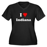 I Love Indiana Women's Plus Size V-Neck Dark T-Shi
