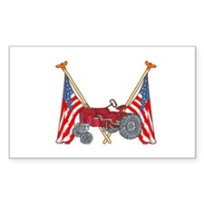American Flags Red Tractor Rectangle Decal