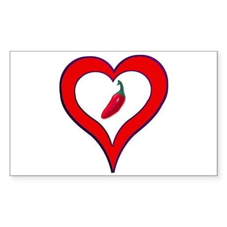 Red Hot Pepper Valentine Rectangle Sticker