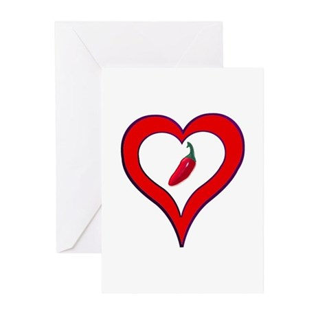Red Hot Pepper Valentine Greeting Cards (Pk of 10)