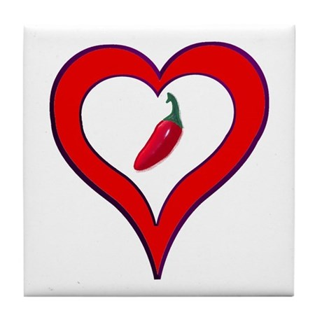 Red Hot Pepper Valentine Tile Coaster