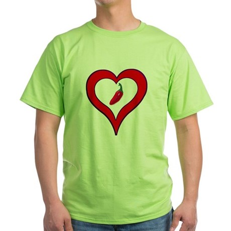Red Hot Pepper Valentine Green T-Shirt
