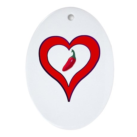 Red Hot Pepper Valentine Oval Ornament
