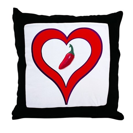 Red Hot Pepper Valentine Throw Pillow