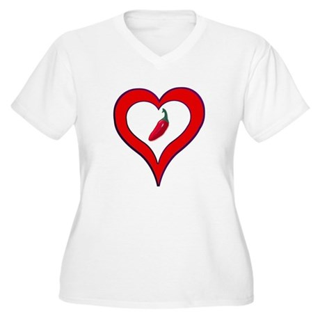 Red Hot Pepper Valentine Women's Plus Size V-Neck