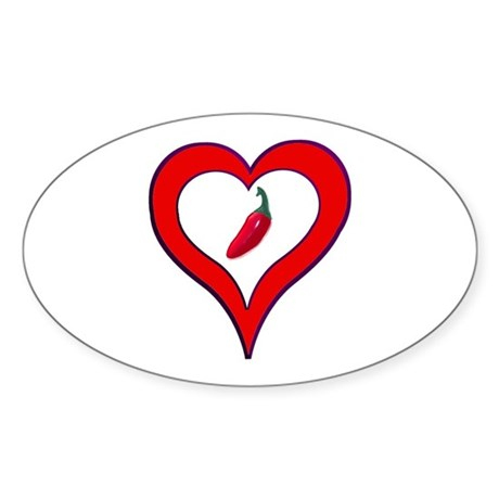 Red Hot Pepper Valentine Oval Sticker