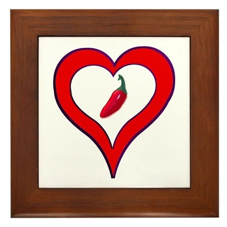 Red Hot Pepper Valentine Framed Tile