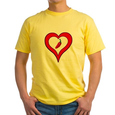 Red Hot Pepper Valentine Yellow T-Shirt