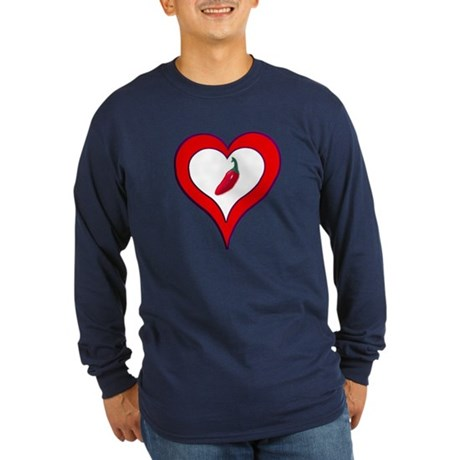 Red Hot Pepper Valentine Long Sleeve Dark T-Shirt