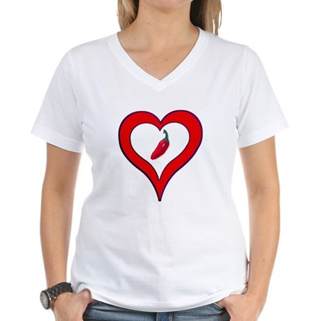 Red Hot Pepper Valentine Women's V-Neck T-Shirt