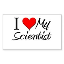 I Heart My Scientist Rectangle Decal