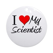 I Heart My Scientist Ornament (Round)