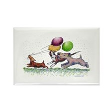 Dog Balloon Party Rectangle Magnet