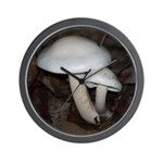 White Mushrooms Wall Clock