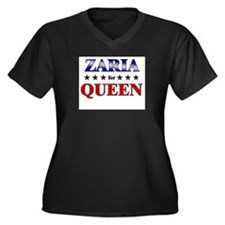 ZARIA for queen Women's Plus Size V-Neck Dark T-Sh