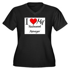 I Heart My Restaurant Manager Women's Plus Size V-