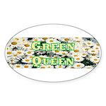 Green Queen Oval Sticker