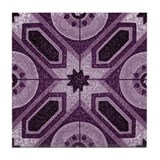 Violet Abstract 7 Tile Coaster