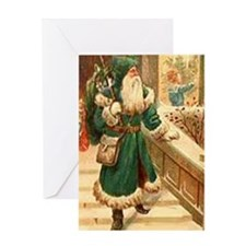 vintage santa green Greeting Card