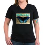 Butterflies Are Magic Women's V-Neck Dark T-Shirt
