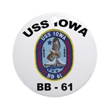 USS Iowa BB 61 Ornament (Round)